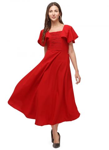Red Heavy Crepe Casual Wear Embellished Long Kurti