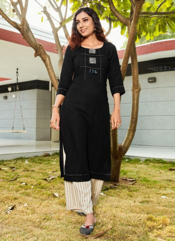 Black Rayon Daily Wear Embroidery Work Kurti With Palazzo