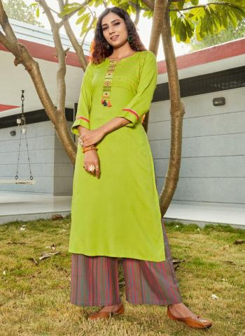 Light Green Rayon Daily Wear Embroidery Work Kurti With Palazzo