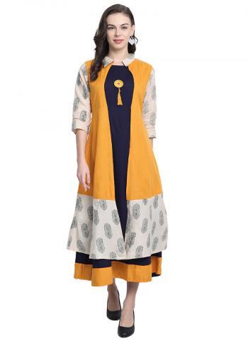 Yellow Rayon Casual Wear Printed Work Long Kurti