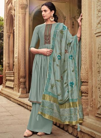 Light Grey Cotton Silk Festival Wear Embroidery Work Palazzo Suit