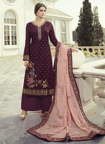 Magenta Dola Jacquard Party Wear Hand Work Palazzo Suit