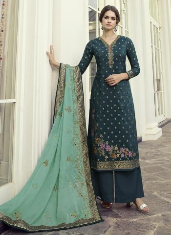 Rama Dola Jacquard Party Wear Hand Work Palazzo Suit