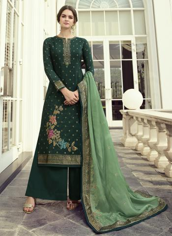 Rama Green Dola Jacquard Party Wear Hand Work Palazzo Suit
