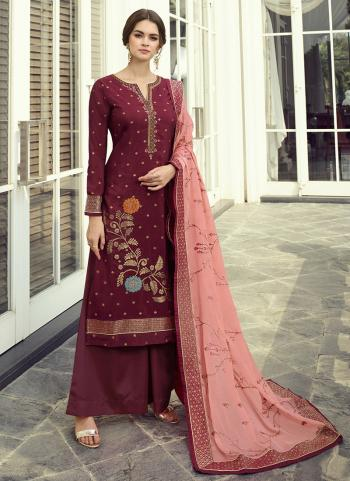 Violet Dola Jacquard Party Wear Hand Work Palazzo Suit