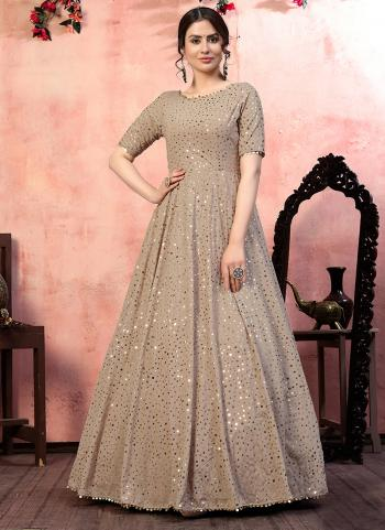 Beige Georgette Party Wear Sequins Work Gown With Dupatta