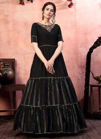 Black Silk Party Wear Zari Weaving Gown With Dupatta
