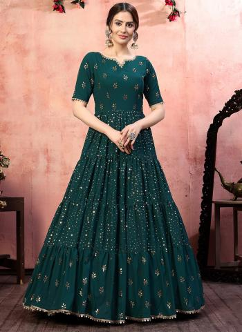 Green Georgette Party Wear Sequins Work Gown With Dupatta