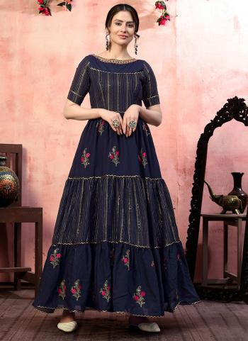Navy Blue Silk Party Wear Thread Work Gown With Dupatta
