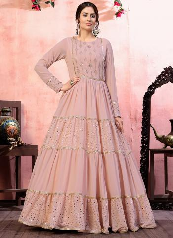 Pink Georgette Party Wear Sequins Work Gown