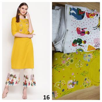 Yellow Rayon Daily Wear Printed Work Kurti With Pant