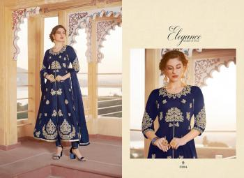 Navy Blue Pure Chanderi Party Wear Embroidery Work Churidar Suit