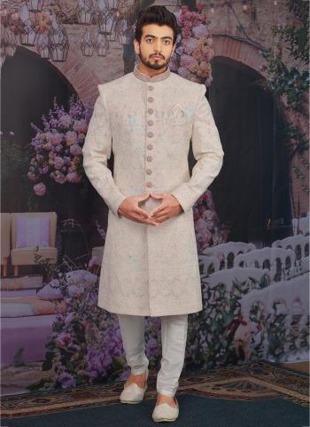Light peach cream Georgette Wedding Wear Embroidery Work Sherwani