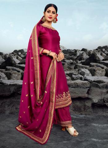 Rani Georgette Satin Wedding Wear Heavy Embroidery Work Palazzo Suit