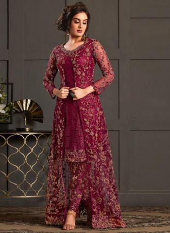 Rani Net Wedding Wear Heavy Embroidery Work Salwar Suit