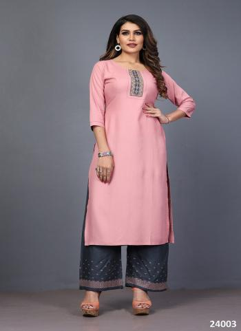 Pink Rayon Daily Wear Embroidery Work Kurti With Palazzo