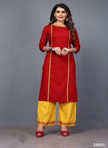 Red Rayon Daily Wear Embroidery Work Kurti With Palazzo