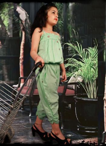 Pista green Rayon Party Wear Fancy Kids Top With Bottom