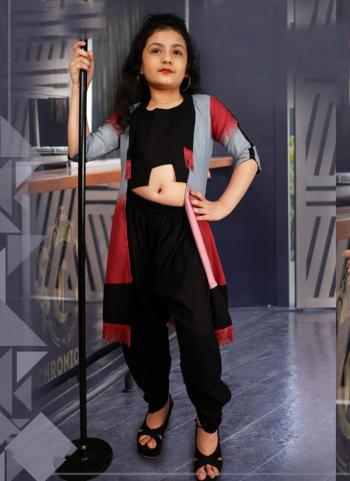 Black Rayon Cotton Casual Wear Printed Work Dhoti Koti