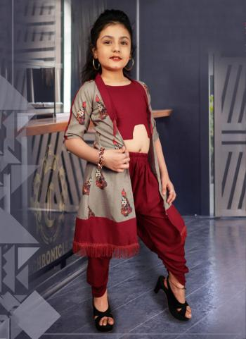 Maroon Rayon Cotton Casual Wear Printed Work Dhoti Koti