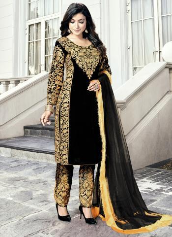 Black Heavy Velvet Wedding Wear Dori Embroidery Work Salwar Suit