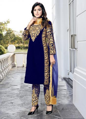 Blue Heavy Velvet Wedding Wear Dori Embroidery Work Salwar Suit