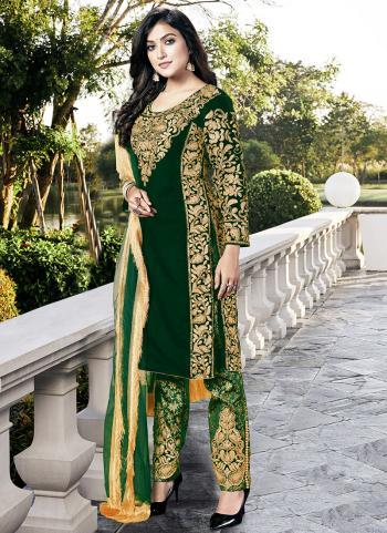 Dark Green Heavy Velvet Wedding Wear Dori Embroidery Work Salwar Suit