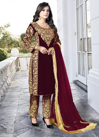 Maroon Heavy Velvet Wedding Wear Dori Embroidery Work Salwar Suit