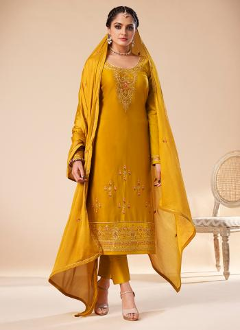Yellow Jam Silk Party Wear Embroidery Work Straight Suit