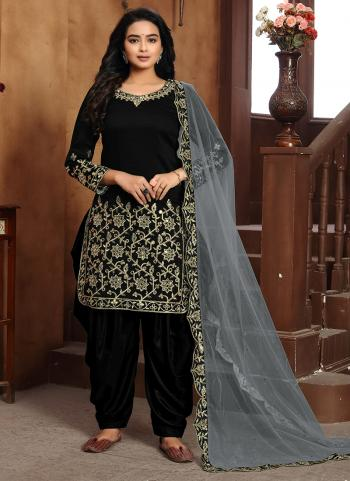 Black Art Silk Festival Wear Embroidery Work Patiyala Suit