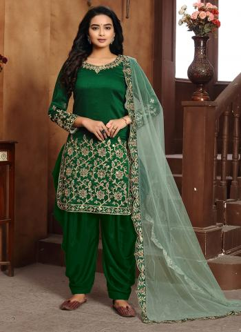 Green Art Silk Festival Wear Embroidery Work Patiyala Suit