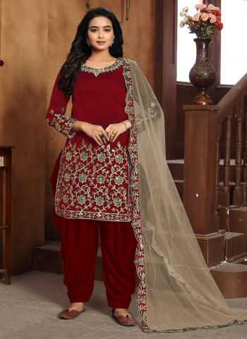 Maroon Art Silk Festival Wear Embroidery Work Patiyala Suit