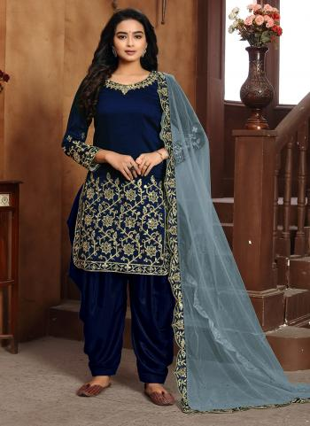 Navy Blue Art Silk Festival Wear Embroidery Work Patiyala Suit