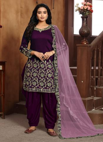 Purple Art Silk Festival Wear Embroidery Work Patiyala Suit