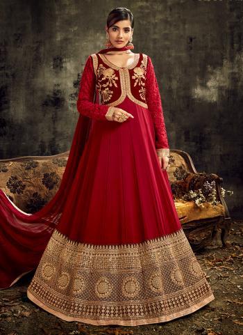 Red Georgette Wedding Wear Embroidery Work Anarkali Suit