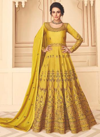 Yellow Pure Silk Festival Wear Embroidery Work Anarkali Suit
