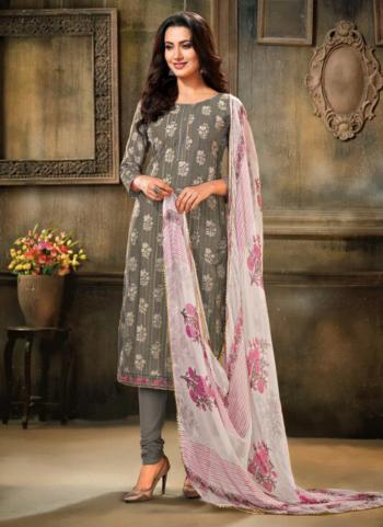 Grey And Pink Chanderi Cotton Daily Wear Embroidery Work Churidar Suit