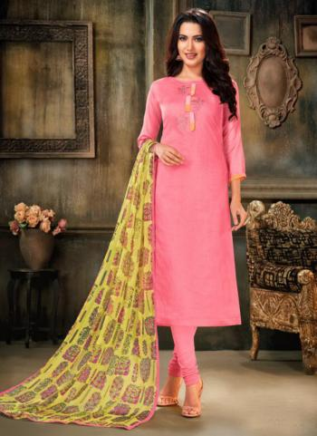 Pink And Green Chanderi Cotton Daily Wear Embroidery Work Churidar Suit