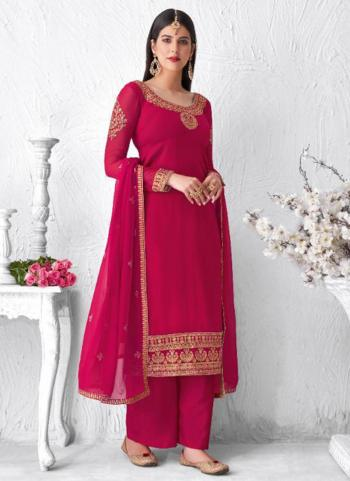 Rani Real Georgette Festival Wear Embroidery Work Palazzo Suit