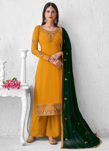 Yellow Real Georgette Festival Wear Embroidery Work Palazzo Suit