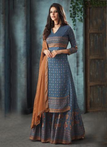Blue Pure Muslin Festival Wear Swarovski Work Sharara Suit