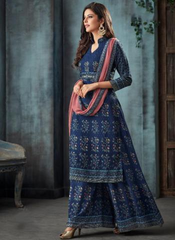 Navy Blue Pure Muslin Festival Wear Swarovski Work Sharara Suit