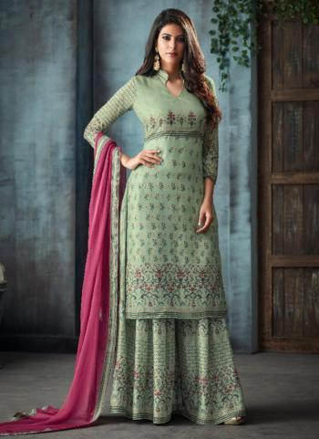 Pista green Pure Muslin Festival Wear Swarovski Work Sharara Suit