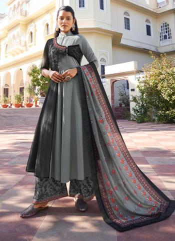 Grey Pure Muslin Party Wear Embroidery Work Readymade Palazzo Suit