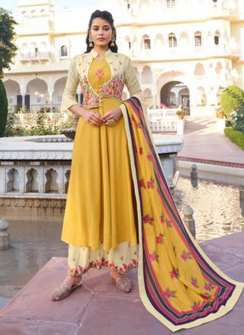 Yellow Pure Muslin Party Wear Embroidery Work Readymade Palazzo Suit