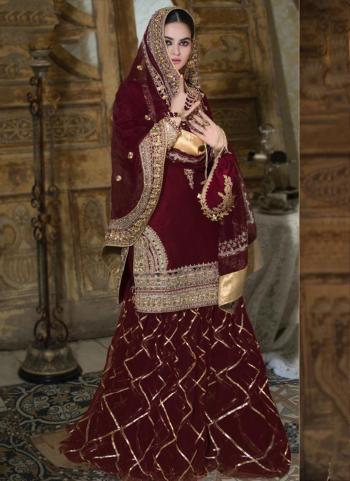 Maroon Georgette Wedding Wear Heavy Hand Work Pakistani Suit