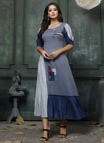 Blue Heavy Rayon Party Wear Hand Embroidery Work Long Kurti