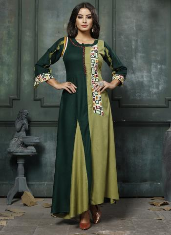 Light Green Heavy Rayon Party Wear Hand Embroidery Work Long Kurti