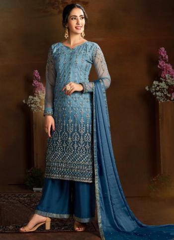 Blue Butterfly Net Wedding Wear Heavy Embroidery Work Palazzo Suit