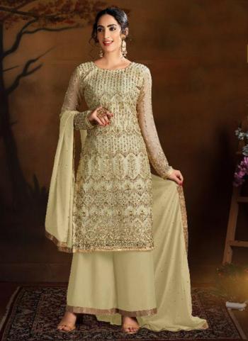 Cream Butterfly Net Wedding Wear Heavy Embroidery Work Palazzo Suit